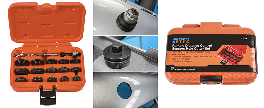 Quick and professional results every time with this parking distance sensor hole cutter set