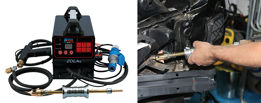 Compact and powerful panel repair welder — complete with slide hammer plus accessories
