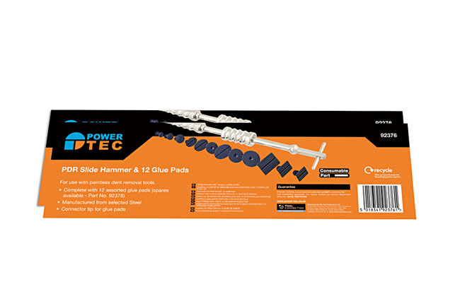 Packaging image of Power-TEC | 92376 | Slide Hammer with 12 Glue Pads